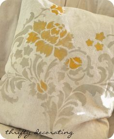DIY Stenciled Pillows-Trying this with some old bed pillows to throw on my couch with colors I want!