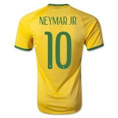 Brazil 2014 NEYMAR JR Authentic Home Soccer Jersey
