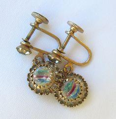 Vintage Iris Glass Earrings Rainbow Glass Screw Backs 1930s Estate Jewelry by BuyVintageJewelry on Etsy