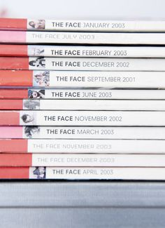Variations on a red/pink theme –The Face magazine spine designs, via Zara People!