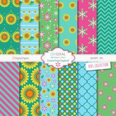 Frozen Fever Inspired Digital Paper- Princess Elsa-Princess Anna-12 Spring digital Papers for scrapbooking, cards, invites, birthday parties