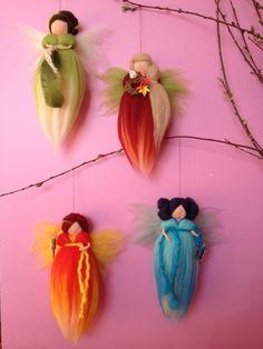Ar, terra, fogo e àgua  ZIRIPITI Wool Needle Felting, Needle Felting Tutorials, Felt Angel, Felt Fairy, Waldorf Toys, Domestic Goddess, Kids Room Design, Felt Dolls, Christmas 2017