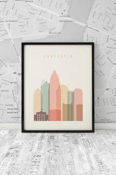 Charlotte skyline Charlotte Print Printable by ArtFilesVicky