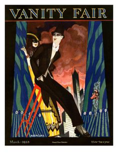 In tails and top hat, a long-limbed actor resembling a cabaret emcee perches gaily on the edge of a stool. Behind him, curtains part to reveal a cityscape backdrop and two curiously costumed characters. The illustration, by Nikolas Remisoff, appeared on the March 1923 cover of Vanity Fair magazine.