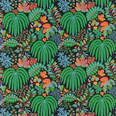 Shop for Fabric at Style Library: Rainforest by Sanderson. Rainforest shows stylised tropical foliage of bright vibrant colours in a semi-symmetric. Textiles, Textile Patterns, Print Patterns, Surface Pattern, Surface Design, Fabric Design, Pattern Design, Textile Design, Sanderson Fabric