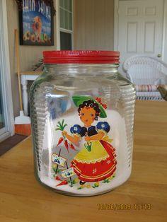 Meyercord decal on old cracker jar. Yummy!