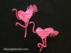 flamingo valentine craft for kids, pink heart flamingos.