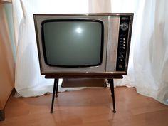 1960's ITT KB Dual Standard Television. inc Vintage TV table with Dansette legs