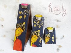 Hand Painted Buddha Candle Holder Set Wooden by HolyCowproducts