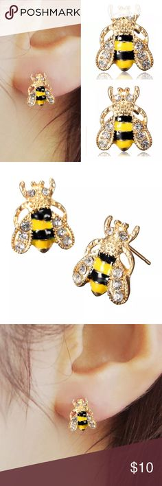 Spotted while shopping on Poshmark: Rhinestone Bumble Bee Crystal 🐝 Stud Earrings! #poshmark #fashion #shopping #style #Jewelry