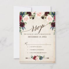 Shop Burgundy Navy Floral Rustic Boho Country Wedding RSVP Card created by blissweddingpaperie. Burgundy Wedding Invitations, Country Wedding Invitations, Wedding Rsvp, Wedding Invitation Cards, Zazzle Invitations, Boho Wedding, Floral Wedding, Rustic Wedding, Card Wedding