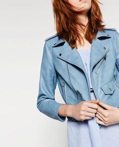 Zara.com | Click to shop this pastel blue leather jacket from @zara
