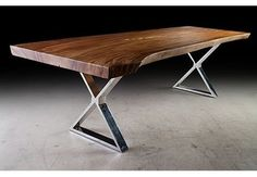 """108"""" L Dining table Desk Solid acacia wood top Cross stainless steel legs Unique #Contemporary"""