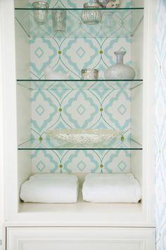 Love this idea - House of Turquoise: EA Interior Design Bathroom Shelf Decor, Glass Bathroom, Bathroom Closet, Bathroom Remodeling, Bathroom Storage, Small Bathroom, Bathroom Ideas, House Of Turquoise, Interior Design Inspiration