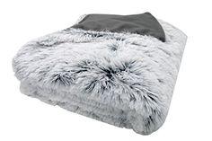 ZOLLNER throws for settees, blanket long pile faux fur, cm, grey-white