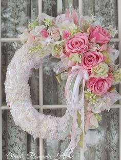 rosecottage.quenalbertini: Pink rose wreath