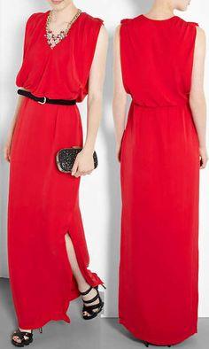Raoul Wallis Red Silk Maxi Dress