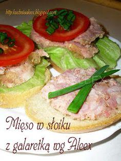 W mojej kuchni: Mięso w słoiku z galaretką wg Aleex Ale, Polish Recipes, Polish Food, Kielbasa, Salmon Burgers, Catering, Food To Make, Recipies, Tacos