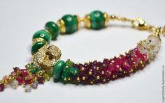 ВОЛШЕБНАЯ РОЗА - браслет,браслет из камней,браслет с подвесками,Камни натуральные