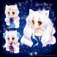 Arctic Fox Girl Adoptable {SOLD} Anime fox boy Fox girl Anime wolf girl