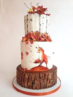 Autumn cake + tiered + red fox + leaves + birch + forest + woodland #weddingcakes