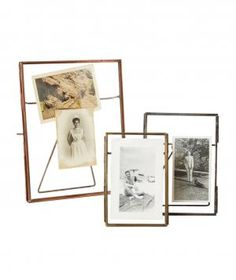 Inject some personality into your space without adding much weight. These glass and iron frames could be used to house vintage photos, dried flowers, or even postcard mementos. Choose from a copper, nickel and antique brass finish and three different sizes.