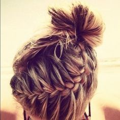 cute bun love the braid it´s like a pineapple