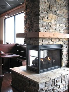 3 Sided Fireplace Design, Pictures, Remodel, Decor and Ideas