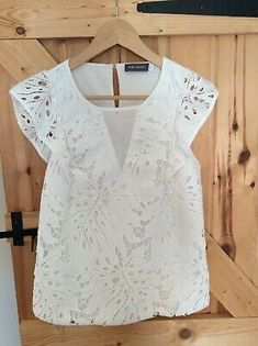 Embroidered front with cotton lining to front. Sleeveless with embroidered frill. Sheer V piece to centre front of top. Top laundered and unworn and in very good condition. White Cami Tops, Ashley White, Yellow Blouse, Sequin Top, Size 10, Mint, Velvet, Summer Dresses, Lace