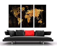 Abstract Black World Map Canvas Print. 3 Panel Split