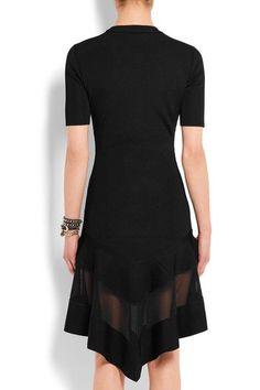 Givenchy - Organza-paneled Dress In Black Ribbed-knit - x small