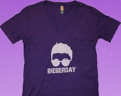 This is the classic.  The I'm not taking lip from anyone shirt.  With it's soft feel and elegant cut, it screams...HAPPY BIEBERDAY!  The deep purple color is an excellent compliment to the plunging deep V.  This is a shirt that will make your friends grimace with envy.  $9.49 at http://bieberday.com/Shop/