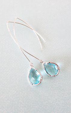 Renny - Aquamarine Teardrop Earrings, Gifts for her, Bridal Earrings, Simple Bridesmaid earrings, something blue Wedding
