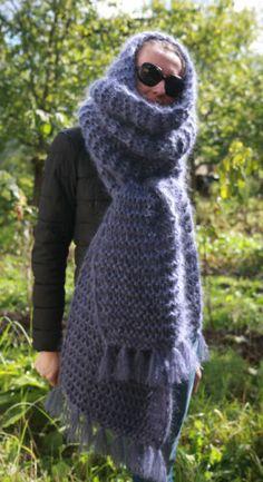 5 strands Premium Longhair Mohair LONG SCARF hand knit Blue Men Women