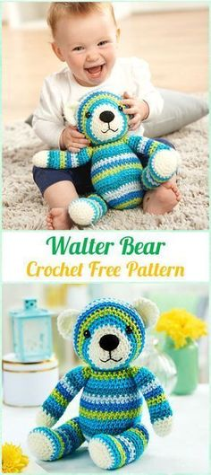 Amigurumi Crochet Walter Bear Free Pattern - Amigurumi Crochet Teddy Bear Toys Free Patterns #CrochetPatternsToys #crochetbear