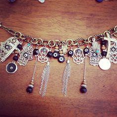 Evil Eye Charm Bracelet by LunasMoonshine on Etsy Pandora Bracelets, Charm Bracelets, Beaded Bracelets, I Love Jewelry, Jewelry Design, Jewelry Making, Evil Eye Charm, Hand Of Fatima, Photo Charms