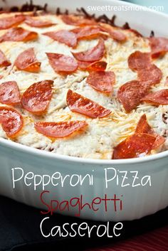 Pepperoni Pizza Spaghetti Casserole - Layered in a baking dish–1) Spaghetti noodles 2) topped with ground turkey (hamburg or sausage, or nothing, your choice) 3) topped with spaghetti sauce & pepperoni, 4) topped with cheese and more pepperoni.  All baked for thirty minutes until heated through and the cheeses are nice and melted.