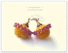 °°Bilbao°°Ohrhänger,Ohrring,orange,rosa,rot,pink+von+°°FineArtBead°°+auf+DaWanda.com