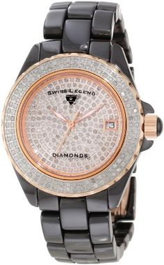 Swiss Legend Womens 20052WBKR Diamonds Pave Diamond Dial Gunmetal Ceramic Watch >>> You can find more details by visiting the image link. (This is an Amazon affiliate link)