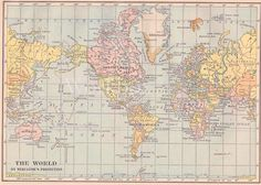 World map digital. 1930s.  Printable pastel color image, 300dpi. Digital download. $3.00, via Etsy.