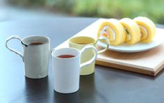 wakako ceramics/ほそながマグカップ しろ