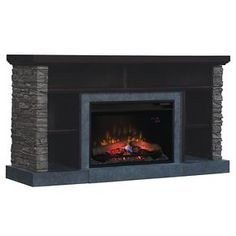 """Matterhorn TV Stand  with  Electric Fireplace Caribbean Mahogany 60"""" - ClassicFlame"""