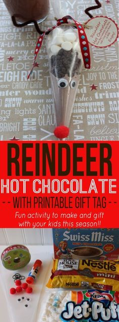 This Reindeer Hot Chocolate Mix is a simple gift that would be cute for a classroom party. It's easy enough that the kids can assemble themselves. Don't forget to print the free gift tag to take along too!