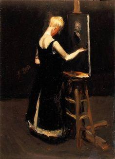Blonde Woman Before an Easel, Edward Hopper, c. 1907