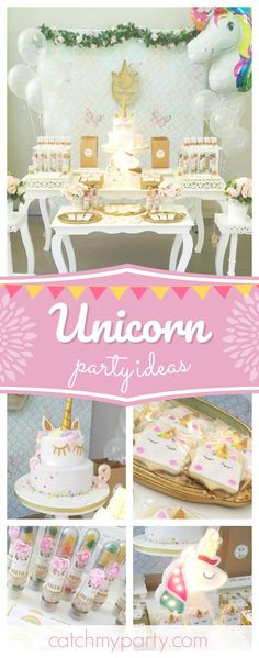 Don't miss this pretty Unicorn birthday party! The birthday cake is so pretty!! See more party ideas and share yours at CatchMyParty.com #unicorn #rainbow #party