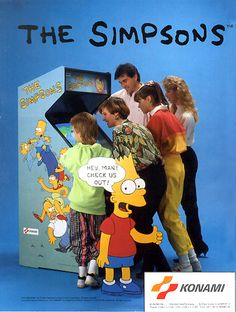 Classic Ads: The Simpsons Arcade The Simpsons Arcade Game is an arcade beat 'em up developed by Konami released in and the first video game based on The Simpsons franchise. The game allows up to four players to control members of the Simpson. Vintage Video Games, Retro Video Games, Vintage Games, Retro Games, The Simpsons Arcade Game, Arcade Games, Space Ghost, Jeux Nintendo 3ds, Simpsons Videos