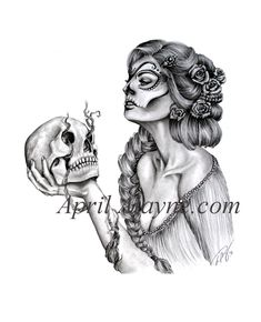 Fanciful woman and skull tattoo