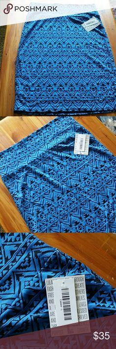 NWT L LULAROE CASSIE BLUE & BLACK NWT L LULAROE CASSIE BLUE & BLACK LuLaRoe Skirts Pencil