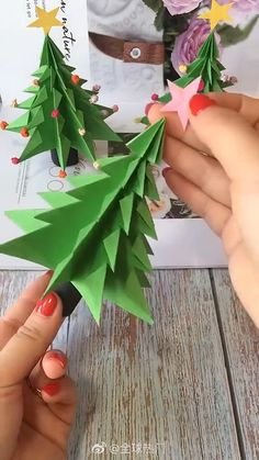 diy diy diy for girls videos crafts crafts crafts Diy Crafts To Do, Fall Crafts, Holiday Crafts, Crafts For Kids, Wood Crafts, Christmas Origami, Christmas Crafts, Origami Christmas Tree, Paper Christmas Decorations