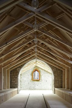 Ceiling Wood Capilla St Genevieve / OBIKA Architecture